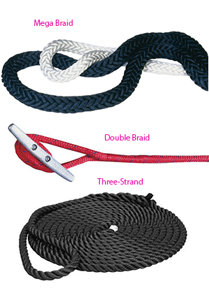 Mega braid, double braid and three strand rope comparisons