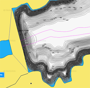close-up of crowd-sourced sonar chart with one inch contours