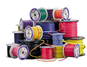 assorted marine wire in different colors and gauges