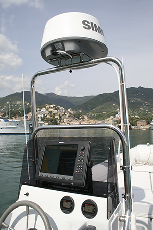 Simrad broadband 4g radome mounted at the helm of a boat
