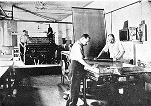 NOAA employees lithographing charts on printing presses in 1908