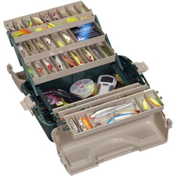 Trunk-style tackle box with three trays