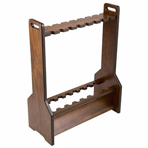 Dark wood fishing rod rack