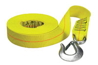 yellow polyester winch strap from boat buckle