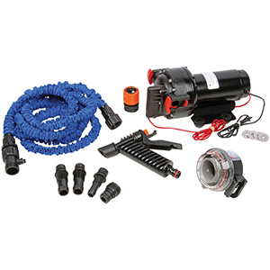 our deluxe washdown pump kit includes a very powerful 70gpm pump  you also  get a 25' collapsible hose, trigger nozzle, inlet strainer and connections  for