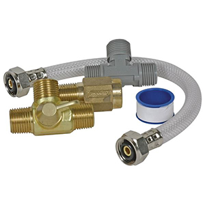 Water heater bypass kit with hose and fittings