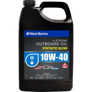 Gallon container of West Marine 10W-40 outboard motor oil
